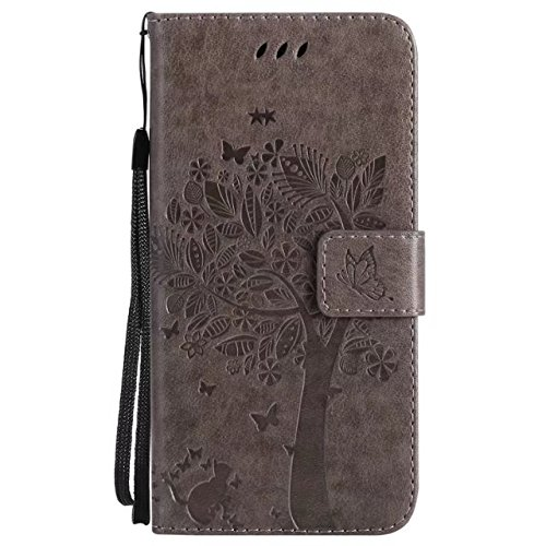 Retro Style Cat et Tree Embossed Pattern Faux Leather Case Cover with Card Slots and Lanyard pour iPhone X ( Color : Green ) Gray