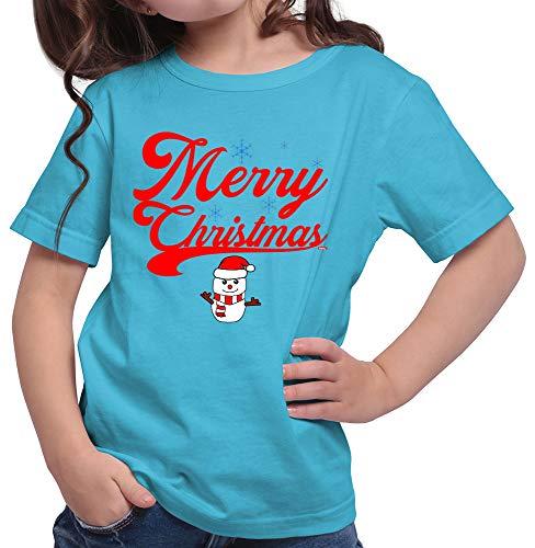HARIZ  Mädchen T-Shirt Weihnachten Merry Christmas Stadt Weihnachten Weihnachts Familie Tannenbaum Plus Geschenkkarte Azur Blau 140/9-11 Jahre (Elf Kostüm Party-stadt)
