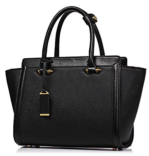 NUCLERL Damen Handtaschen Echtes Leder Umhängetaschen Große Top-Griff Taschen Umhängetaschen Tote Bag Messenger Bag (Schwarz) (Schwarzes Tote Leder Große)