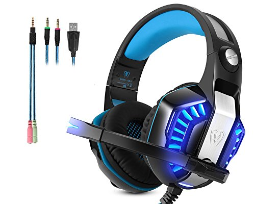 Auriculares Gaming Microlindun Micrófono PC Headset Gamer 3.5mm Bass Stereo Control de Volumen LED para PC, Laptop, Tablet , Smartphone, PS4 ( Adaptador Include) …