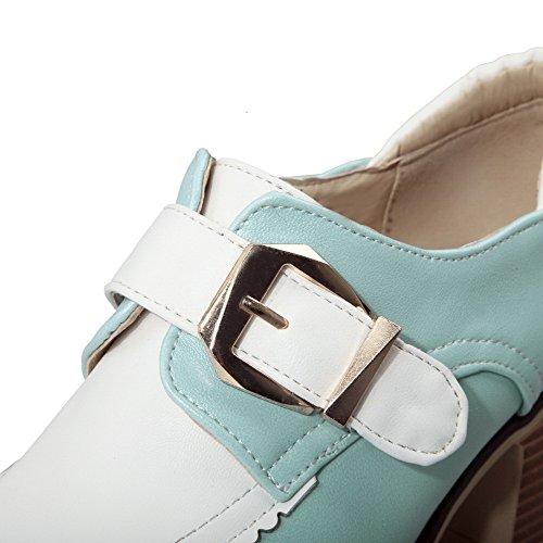 VogueZone009 Femme Boucle Rond à Talon Correct Pu Cuir Couleurs Mélangées Chaussures Légeres Bleu