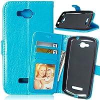 FUBAODA - Funda de cuero para Alcatel One Touch Pop C7, [Cable Libre] función de soporte móvil, cierre magnético con ranura para tarjeta crédito monedero protección para Alcatel One Touch Pop C7 (7041D 7040D) (azul)