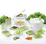 Coninx® Cucina Coupe-Fruits et Légumes avec Lame Interchangeable, Manette de Légumes, Pommes de Terre et oignons avec Slicer, Cube et essoreuse à Salade Blanc & Vert