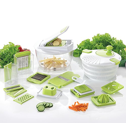 Coninx Cucina Obst- und Gemüseschneider mit Austauschbare Klinge   Gemüsehobel   Kartoffel und Zwiebelschneider mit Slicer, Würfel und Salatschleuder   Weiß & Grün   Edelstahl   Multischneider   Compact & Leicht zu Reinigen