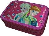 Astuccio Scuola 3 Zip Originale Disney FROZEN - Elsa & Anna - Rosa - Completo di 45 Pezzi