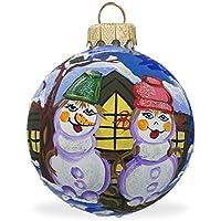 8,3cm pupazzo di neve coppia palla di vetro di Natale ornamento