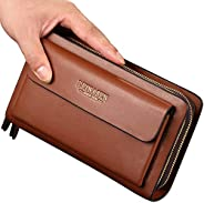 Mens Large Long Leather Clutch Hand Bag Wallet Purse Travel Passport Business Cell Phone Holster Credit Card H