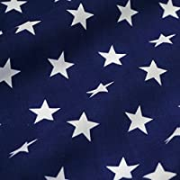 Navy Blue Polycotton Fabric with White Stars (Per Metre)