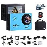 """Action-Kamera 4K 16MP Wi-Fi Sport Cam Unterwasser 30M Tauchen Camcorder mit 2,0 """"LCD-Bildschirm, 170 ° Weitwinkel (Portable Case + 2 Batterien + 2.4G Fernbedienung + Stativ + Akku Lade Dock)(GB/UK Stecker ) - Blau"""