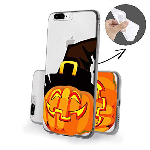 finoo |Iphone 6/6S Weiche flexible lizensierte Silikon-Handy-Hülle | Transparente TPU Cover Schale mit Halloween Motiv | Tasche Case mit Ultra Slim Rundum-schutz | Zombie Mädchen Kürbis mit Hut CloseUp