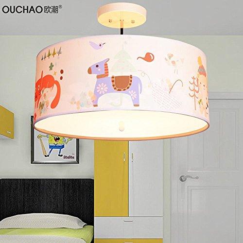 BESPD Moderne Cartoon warmen kreative Runde Jungen und Mädchen Baby Zimmer kronleuchter Pferd Pferd Tuch Schatten -