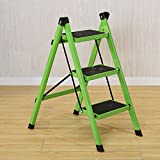 YXX- 3 Tritt-Tritt-Schemel-Innenfaltender Stepladder-Eisen-Kleine Küche Faltbare Anti-Rutschleiter für Erwachsene (Farbe : Green)