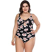 e9e8dc41e1f6 Lover-Beauty Damen Badeanzug Große Größen Zweiteiler Sexy Bikini Set Push  up Blumen Schwarz Bademode