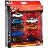 Majorette 212053240  - Plaza de paquete de 10 coches, 4 surtido, 10 vehículos con volante libre, suspensión, las puertas de apertura y / o piezas en movimiento, escala 1:64, de 7,5 cm