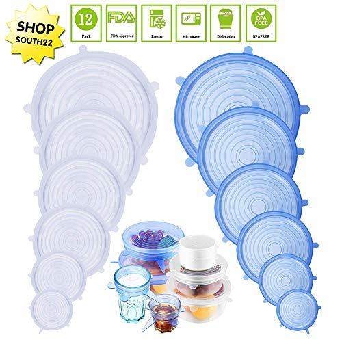 Lomio coperchio in silicone estensibile, 12 pack di diverse dimensioni coperchio in silicone per alimenti, riutilizzabile ed espandibile coperchio per tazza per pentole e freezer