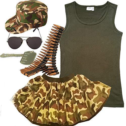 Damen-Armee 7-teiliges Set. Military Kostüm Outfit (36-38)
