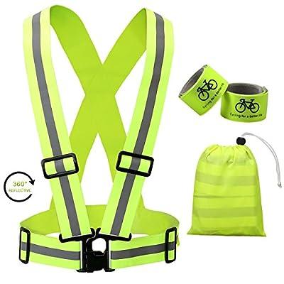 Reflektierende Weste mit 2St Reflektorbänder für Sicherheit zum Joggen Radfahren oder für Aktivitäten bei Dunkelheit in der Nacht