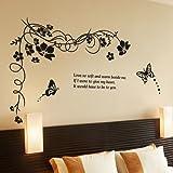 YESURPRISE Vinilo Decorativo Adhesivo Pegatina Pared Para Salón Dormitorio Carta De Amor Mariposa Letras Negras Estilo Artístico Vintage