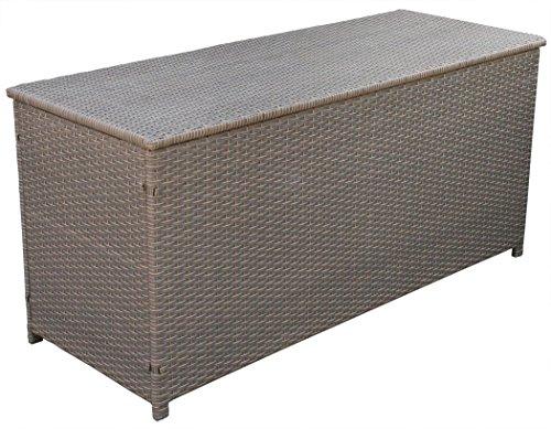 KMH Kissentruhe/Kissenbox Emma 130x50x61 cm aus braunem (bicolor) Polyrattan Auflagenbox (2 String)...