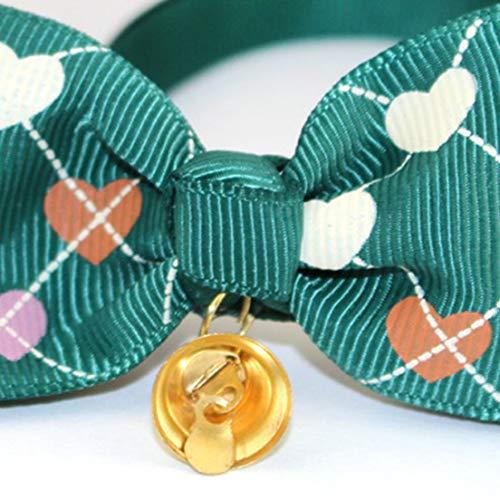 DFHJSXD Haustierhalsband Mit Fliege Haustier Hund Herz Glocke Schmetterling Fliege Schmuck Verstellbarer Katzenhalsband Krawatte Leicht-Grün -