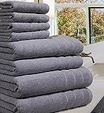 Luxueuse Serviette Bale- 100 % coton égyptien -8pièces - 550g / m² - Tailles extra-larges, Coton, Silver, 8 Pieces Set