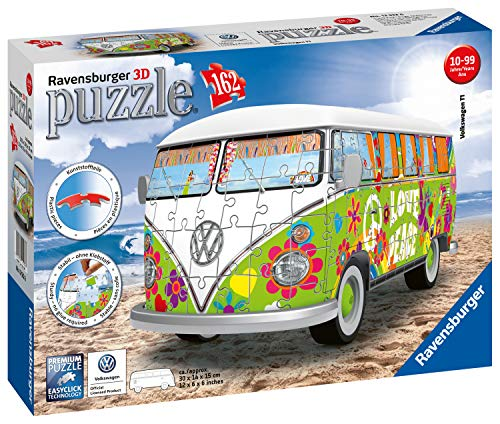 Ravensburger 12532 12532-Volkswagen T1-Hippie Style-3D Puzzle