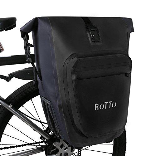 ROTTO Hinterradtasche Gepäckträgertasche Fahrradtasche Gepäckträger Abnehmbar Wasserdicht 27 Liter (A Schwarz-Single)