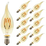 10er-Pack 3W Dimmbar LED Lampe in Kerzenform mit E14 Fassung,Ersetzt 25 Watt,LED Flexibel Spiral Filament Kerze Birne Windstoß Bernstein Glas 2200K Warmgelb