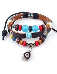 SUYA pulseras,2pcs, joyería retro, pulsera de cuentas de piel de vaca, joyería, pulsera creativa, regalos creativos