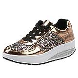 FNKDOR Damen Pailletten Wanderschuhe Plateau Sneaker Keilabsatz Sportschuhe (39, Gold)