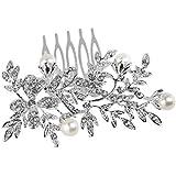 LEORX Da sposa capelli pettine strass decorato accessori per capelli - girasole stile (argento)