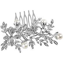 LEORX Boda nupcial pelo peine Rhinestone decoración accesorios para el cabello - estilo girasol (plata)