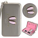 Sac à Main Femme Fille, Bonice Portefeuille en Cuir Long L'oreille de Lapin Mignon Porte-monnaie Elégant Rangements pour Cartes de Crédit Monnaie Portefeuille de Téléphone [Porte-étui] pour iPhone 5/5S/SE/6/6S/6/iPhone 7/7 Plus/8/8 Plus/iPhone X/Samsung Galaxy S8/S8 Plus/S7 Edge/S7/S6/S6 Edge/S6 Edge Plus/A3/A5/A7/J3/J5/J7/Huawei P7/P8/P9/P10/Sony Xperia Z2/Z3/M2/Z5/Wiko Lenny 3/2/Jerry/LG K10/K3/G3/HTC one/Desire 820/816 Fermeture à Fermoir Zippé avec Bracelet Pochette - Gris foncé