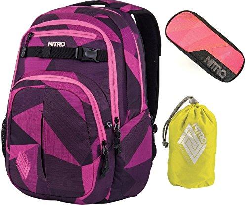 Nitro Rucksack Chase Schoolbag 35L, Daypack, Laptop-Bag, viele Fächer, cooles Design, & Federmäppchen und Raincover(1951)