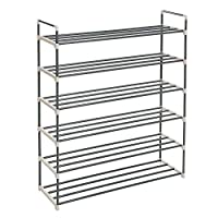 SONGMICS 6-Tier Shoe Rack, Metal Storage Shelves Hold up to 30 Pairs of Shoes, for Living Room, Entryway, Hallway and Cloakroom, 92 x 30 x 103 cm
