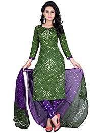 Taboody Empire Palatinate Green Satin Cotton Handi Crafts Bandhani Work With Straight Salwar Suit For Girls And...