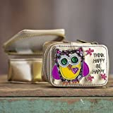 Trendy Cool Natural Life Vegan Gold Metallic Think Happy Be Happy Owl Jewelry Travel Size Zippered Bag Case