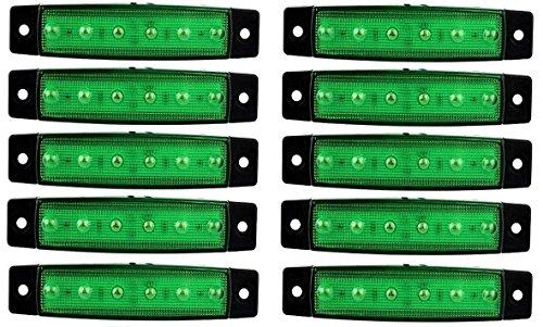 10 x 24 V SMD 6 LED Vert Face arrière Feux de gabarit position Camion Remorque Châssis de camion