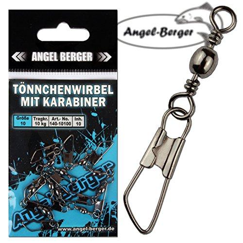 Angel Berger Tönnchenwirbel mit Karabiner 10 Stück Wirbel (8)