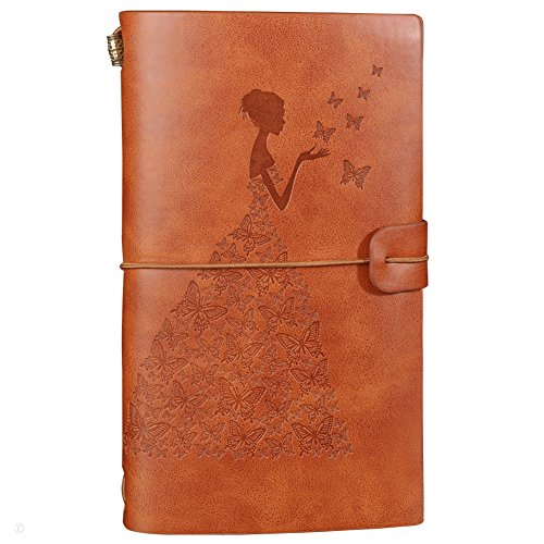 Leather Journal Refillable Travelers Notebook Notepad Diary Daily Planner with 18 Card Slots and 1 PVC Zipper Pocket for Men Women Students (Brown)