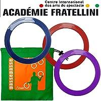 PassePasse 3 Anillos Pro Junior Academy Malabares Fratellini 26 cm (Rojo, púrpura, Azul) con la Bolsa