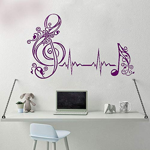 Kreatives Design Herzschlag Musik Note Puls Musik Enthusiasten Aufkleber Schlafzimmer Home Fenster Dekor Abnehmbare Vinyl Wandaufkleber 69x42 cm -