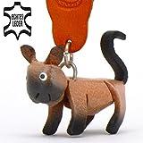 Monkimau Somali Katze-n Leder Schlüssel-anhänger Deko-Figur 3D Charm-s Kinder Mädchen Damen Geschenk-e braun schwarz 5cm Glückskatze-n