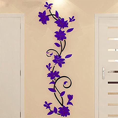 bismarckbeer 3D Romantic Rose Flower Removable PVC Wall Stickers Home Decal Living Room Decor (Dark Purple)