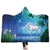 FimGGe 3D Stampato Unicorno Coperta in Pile per Bambini Bambini Adulti Inverno Spesso Blu Animali Cavallo con Cappuccio Coperte divani Letto Throw-150cm * 200cm