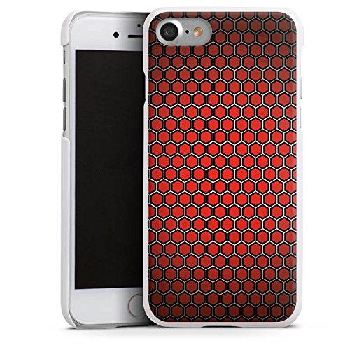 Apple iPhone X Silikon Hülle Case Schutzhülle Red Hexagon Pattern Punkte Muster Look Hard Case weiß
