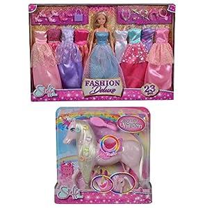 Simba Steffi Love Vestidos Deluxe, Color Rosa (105733092) + Unicornio, +3 años