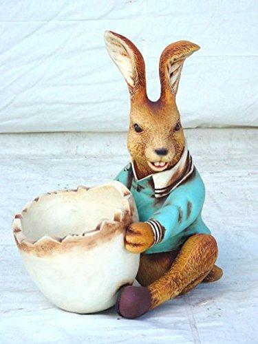 Coniglio pasquale con uova ciotola con possibilità di stoccaggio a grandezza naturale 58cm per esterni in poliresina