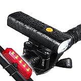 LED-Fahrradlicht Tragbares Ladegerät, 800Lumen Wiederaufladbare Fahrrad Scheinwerfer mit USB-Ausgang Funktion–wasserdicht Fahrrad Front Rücklicht-Set passend für alle Fahrräder