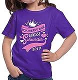 HARIZ  Mädchen T-Shirt Ich Werde Eine Große Schwester 2019 Große Schwester Geburtstag Bruder Weihnachten Plus Geschenkkarte Lila 116/5-6 Jahre